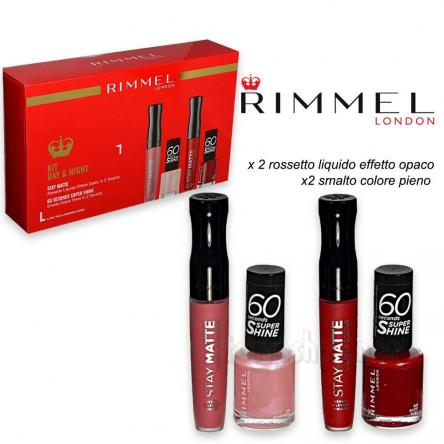 Rimmel kit day & night 2 smalti + 2 rossetti liquidi matt