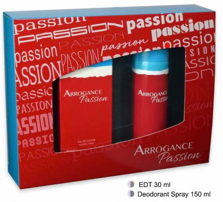 Coffret arrogance passion edt 30 ml + deo 150 ml