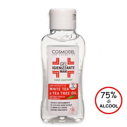 Gel igienizzante mani 120 ml 75% di alcool white tea