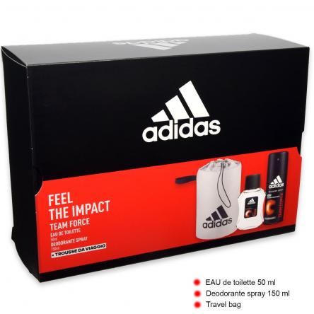 Adidas coffret team five edt 100 ml + deo 15 ml + pochette