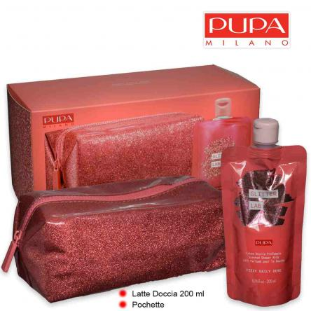 Pupa glitter lab kit frizzy daily latte doccia 200 ml + pochette