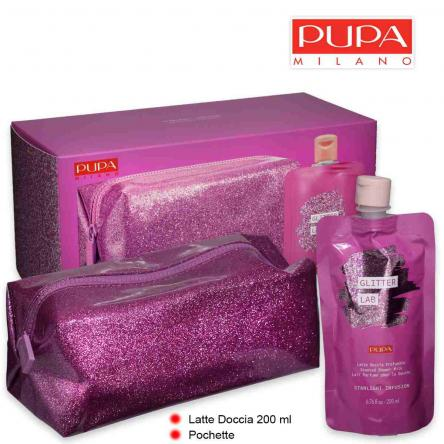 Pupa glitter lab kit starlight infusion latte doccia 200 ml + pochette