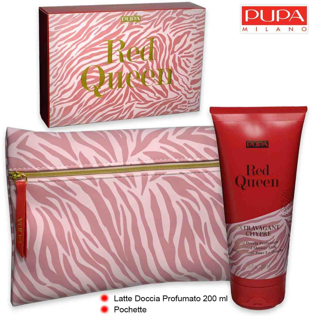 Pupa red queen latte doccia 200 ml + pochette extravagant chypre